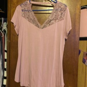 NO BO Pink floral lace top!!